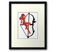 ARCHERY-SEXY COMPOUND GIRL ON ARROW Framed Print