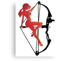 ARCHERY-SEXY COMPOUND GIRL ON ARROW Canvas Print