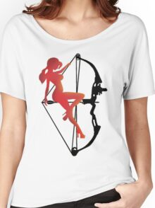 ARCHERY-SEXY COMPOUND GIRL ON ARROW Women's Relaxed Fit T-Shirt