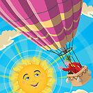 Girl in a balloon greeting a happy sun by martyee