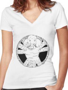 Vitruvian Elephant Women's Fitted V-Neck T-Shirt