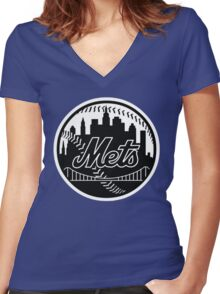 Mets Women's Fitted V-Neck T-Shirt