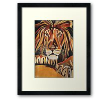 Relaxed Lion Portrait in Cubist Style Framed Print