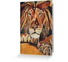 Relaxed Lion Portrait in Cubist Style Greeting Card