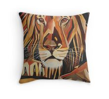 Relaxed Lion Portrait in Cubist Style Throw Pillow