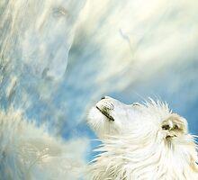 White Lion - In The Wild Wind by Carol  Cavalaris