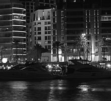 Night shot 04 - Beirut - Zaytouni Bay - Black & White by gramziss