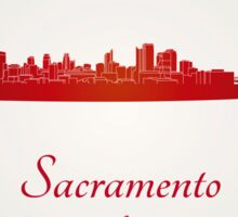 Sacramento skyline in red Sticker