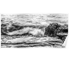 Rocks and waves at Point Cartwright  Poster