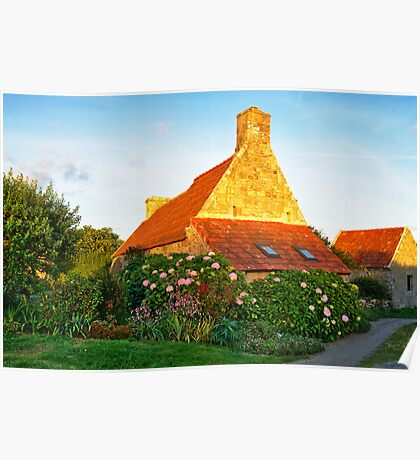 Flowered cottage in Brittany Poster