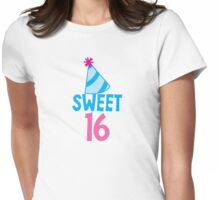 Sweet 16 Birthday design with hat Womens Fitted T-Shirt