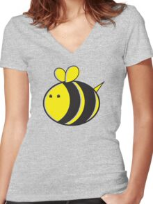 Cute little bumble fat bee Women's Fitted V-Neck T-Shirt