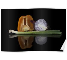 Pepper, onion & garlic Poster