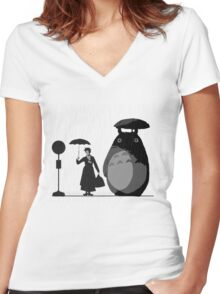 mary and totoro Women's Fitted V-Neck T-Shirt