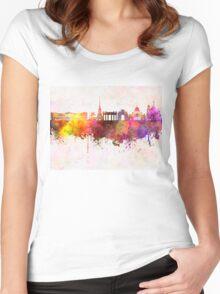 Saint Petersburg skyline in watercolor background Women's Fitted Scoop T-Shirt