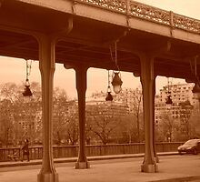 Paris - Bir-Hakeim bridge in sepia by Caroline Clarkson