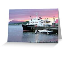 Oban sunset with ' Hebridean Princess !' Greeting Card