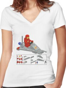 Lego Space Scooter (vector art) Women's Fitted V-Neck T-Shirt
