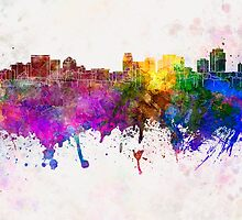 Salt Lake City skyline in watercolor background by paulrommer