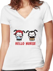 Hello Nurse Women's Fitted V-Neck T-Shirt