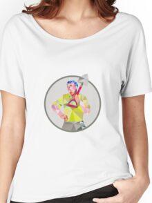 Gardener Landscaper Shovel Circle Low Polygon Women's Relaxed Fit T-Shirt