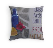 Classic Artistic Still Life Group: Proud Member Banner Throw Pillow