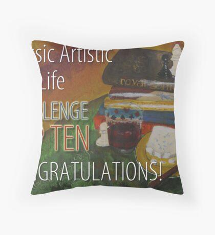 Classic Artistic Still Life Group: Top Ten Banner Throw Pillow