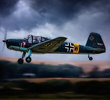 Messerschmitt BF108 Takeoff Under Dark Clouds by Chris Lord