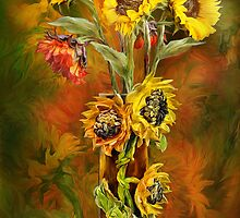 Sunflowers In Sunflower Vase by Carol  Cavalaris
