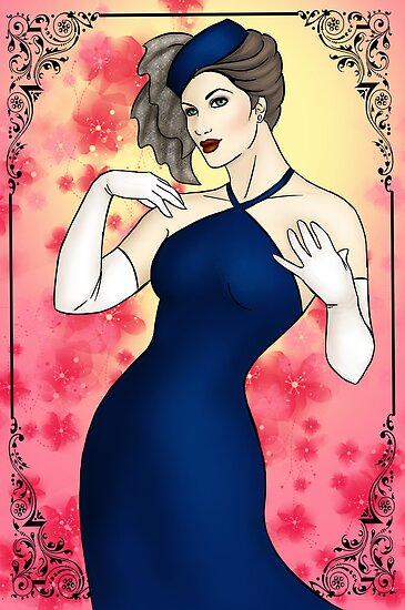 Pinup Girl - Blue Evening Gown by CatAstrophe
