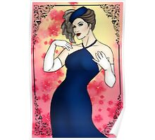 Pinup Girl - Blue Evening Gown Poster