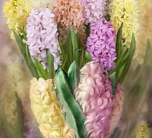 Hyacinths In Hyacinth Vase 2 by Carol  Cavalaris