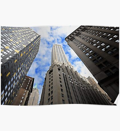Looking up a skyscraper office block in New York City Poster