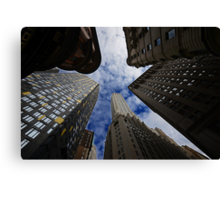 Looking up a skyscraper office block in New York City 2 Canvas Print