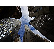 Looking up a skyscraper office block in New York City 2 Photographic Print