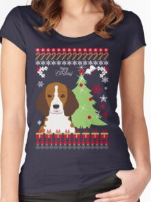 Beagle Christmas Sweater Women's Fitted Scoop T-Shirt