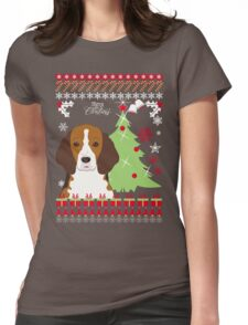 Beagle Christmas Sweater Womens Fitted T-Shirt