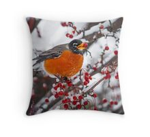 Robin with Crab Apple in the Snow Throw Pillow