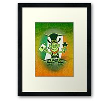 Green Leprechaun Drinking a Toast Framed Print