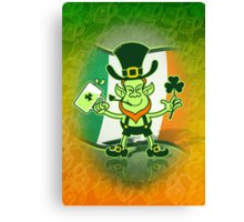 Green Leprechaun Drinking a Toast Canvas Print