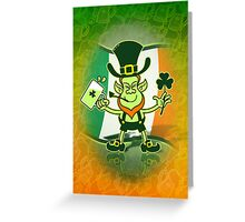 Green Leprechaun Drinking a Toast Greeting Card