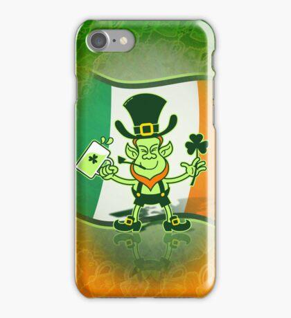 Green Leprechaun Drinking a Toast iPhone Case/Skin