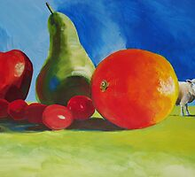Surreal Still Life painting with Fruit & Sheep! 'Wrong Field?' by MikeJory