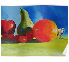 Surreal Still Life painting with Fruit & Sheep! 'Wrong Field?' Poster