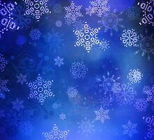 Blue Background with Snowflakes 3 by AnnArtshock