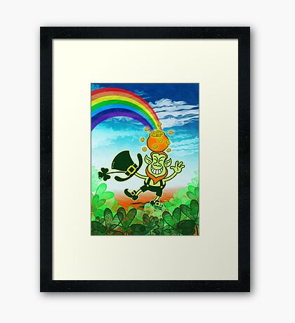Green Leprechaun Balancing a Pot on his Head Framed Print