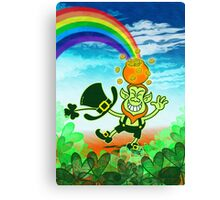 Green Leprechaun Balancing a Pot on his Head Canvas Print