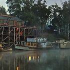 Foggy Dawn At Echuca Wharf by djzontheball