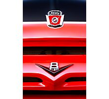 Red Ford F100 truck V8 emblem Photographic Print