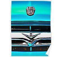 Blue Ford F100 truck V8 emblem Poster